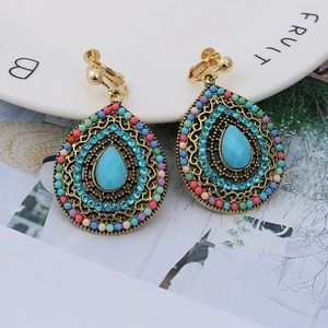 Turquoise Bohemian Tear Shaped Clip On Earrings